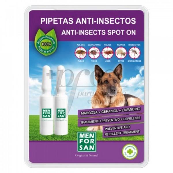 MEN FOR SAN PIPETAS ANTI-INSECTOS PARA PERROS 2U