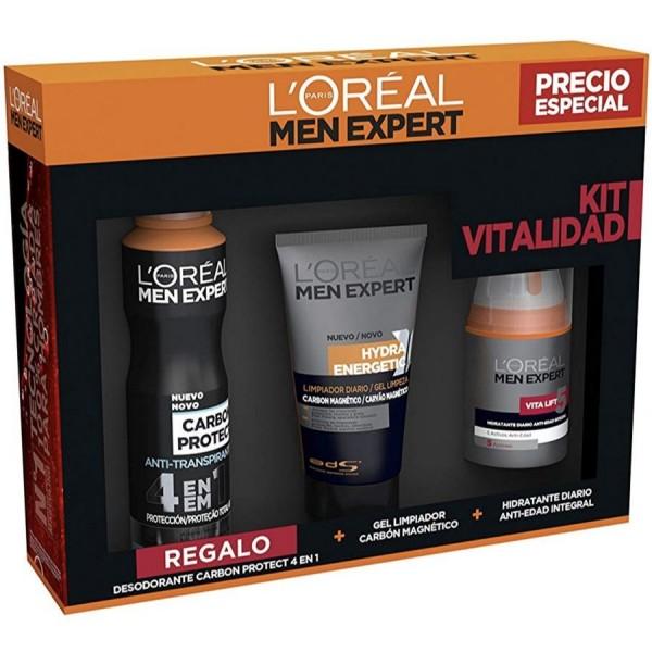 L´Oreal Men Expert Set Crema Hidratante Anti-Edad + Gel Limpiador de carbón + Deo Carbón