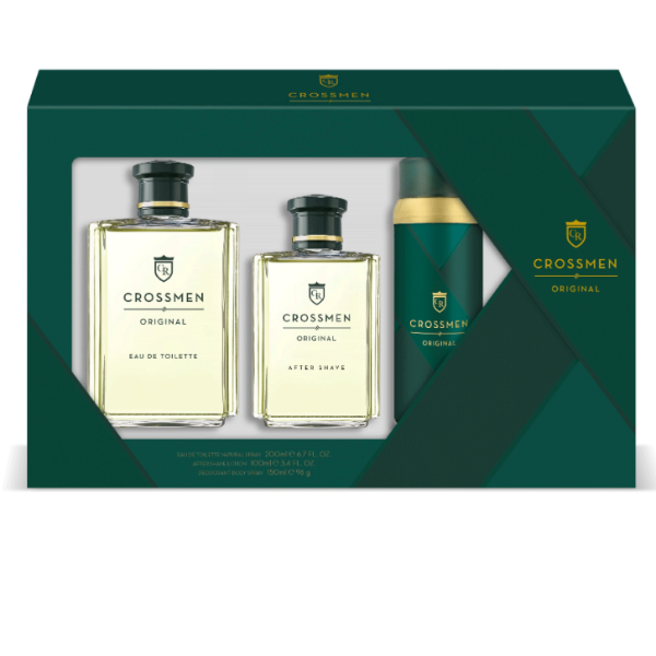Crossmen set Hombre Original EDT 200 ml + Loción Aftershave 100 ml + Desodorante spray 150 ml