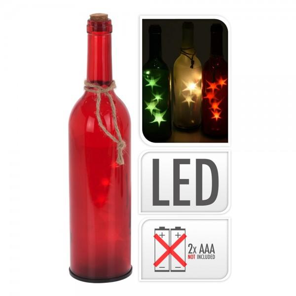 botella de cristal decorativa con led 29cm 3xaaa pilas no incluidas colores surtidos