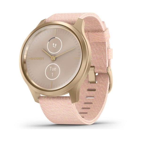Garmin vívomove style smartwatch dorado 42mm amoled con correa nailon rosa